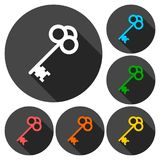 Old key silhouette icon with long shadow. Vector icon Royalty Free Stock Image