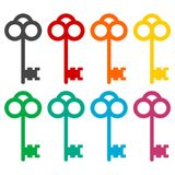 Old key silhouette icons set Royalty Free Stock Photo