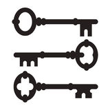 Old key silhouette set Stock Image