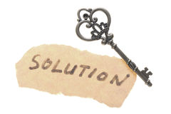 Old key and solution word Stock Image