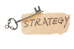 Old key and strategy word Royalty Free Stock Photos