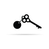 Old key vector. Silhouette illustration on a white Royalty Free Stock Photos