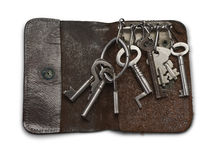 Old Key Wallet with old keys. Isolated on white background Stock Images