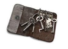 Old Key Wallet with old keys Stock Photos