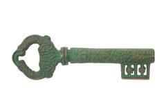 Old key on white background Stock Photography