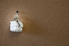 Old key on a white door Royalty Free Stock Photography