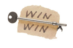 Old key and Win-win words Royalty Free Stock Photo