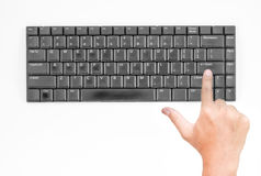 Old keyboard with hand Royalty Free Stock Photo