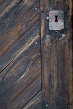 Old Keyhole in Wooden Door. Old Rusty Keyhole in Traditional Wooden Door Royalty Free Stock Photo