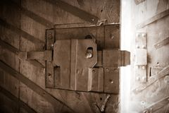 Old keyhole on a wooden door Royalty Free Stock Images