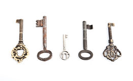 Old keys. Several types of old retro keys isolated Stock Photo