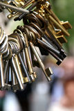 Old keys 2. Vintage keys hanging from keyring - blurry background Royalty Free Stock Photo