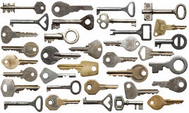Old keys. Collection of old keys, isolated Royalty Free Stock Photography