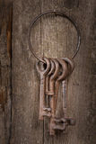 Old keys. Bunch of old keys on a wooden background Royalty Free Stock Photography