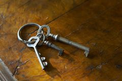 Old keys. Sheaf of keys placed on an old locker Stock Photography
