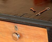 Old keys on an antique dresser Stock Photos