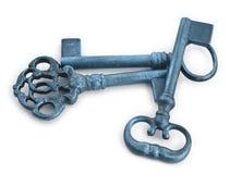Old keys in blue tones against white Stock Images