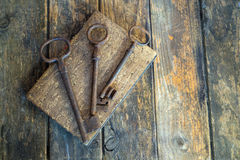 Old keys. On a old book, antique wood background Royalty Free Stock Image