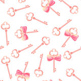 Old keys with bows seamless vector pattern Royalty Free Stock Images