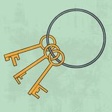 Old keys bunch. Icon. Vector illustration Royalty Free Stock Images
