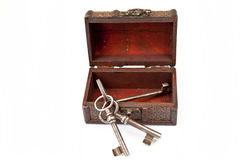 Old keys in chest. Three old keys in a wooden decoration chest Royalty Free Stock Photo