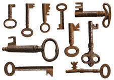 Old keys collection. (10 specimens Royalty Free Stock Photography