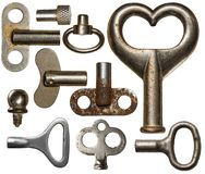 Old keys. Collection of old clockwork keys, isolated Royalty Free Stock Photography