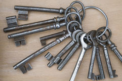 Old keys complete. Vintage keys complete against wooden background Stock Image