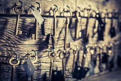 Old keys for hotel rooms stock images