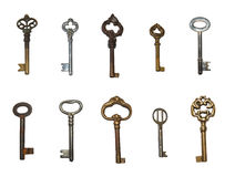 Old keys isolated. On the white background Stock Photography