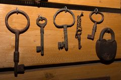 Old rusty keys and locks made of iron Royalty Free Stock Image