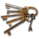 Old keys on a metallic ring Stock Photography