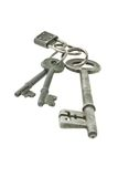 Old keys with mini padlock Royalty Free Stock Photo