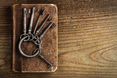 Old keys on a old book Stock Images