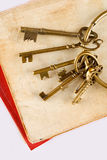 Old keys on old book Stock Image