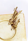 Old keys on old book Royalty Free Stock Photo