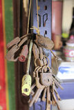 Old keys and padlocks. Bunch of old keys and padlocks Royalty Free Stock Photo