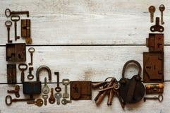 Old keys and padlocks framework Stock Photos