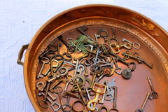 Old keys in the pan. Fun old keys in the pan royalty free stock images
