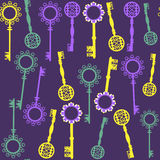 Old keys seamless pattern and seamless pattern in  Stock Images