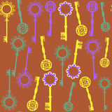 Old keys seamless pattern and seamless pattern in. Swatch menu, vector Royalty Free Stock Image