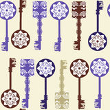 Old keys seamless pattern and seamless pattern in swatch menu, v Royalty Free Stock Images