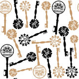 Old  keys seamless pattern, vector Stock Photos