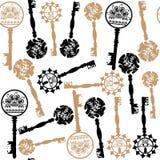 Old  keys seamless pattern, vector. Old keys seamless pattern and seamless pattern in swatch menu, vector Stock Photos
