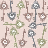 Old  keys seamless pattern, vector Stock Image