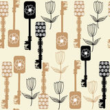 Old  keys seamless pattern, vector Royalty Free Stock Image