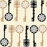 Old keys seamless pattern Royalty Free Stock Photography