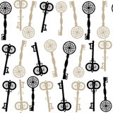 Old keys seamless pattern. Old vector keys seamless pattern and seamless pattern in swatch menu, . Cute template, cover Royalty Free Stock Photo