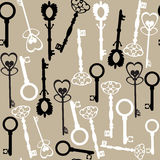 Old vector keys seamless pattern Royalty Free Stock Photos