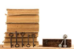 Old keys, stack of antique books isolated on white background. Old keys and stack of antique books isolated on white background Royalty Free Stock Photos